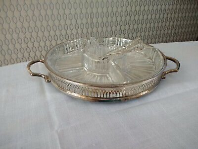 Vintage Cavalier Silver Plated Etched Floral Glass Serving Tray and Forks