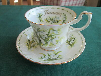 Royal Albert Flower Of The Month January Tea Cup And Saucer