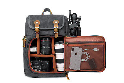 DSLR Camera Canvas Backpack Front Open Large Anti-shock SLR Travel Camera Bag