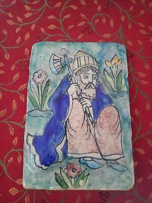 Old vintage Persian Islamic Art Hand Painted Tile Iznik Kutahya 18cmX12.5cm