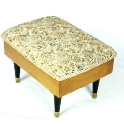 Vintage Retro Beech Sewing Box Padded Seat Foot Stool with Contents [5203]