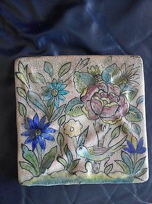 Old vintage Persian Islamic Art Hand Painted Tile Iznik Kutahya 18cmX18cm