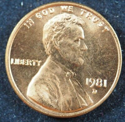 1981 D Lincoln Memorial Cent Penny (BU) Brilliant Uncirculated US Coin