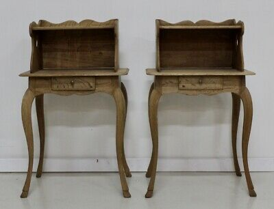 A pair of antique French vintage oak one drawer tables bedside cabinets
