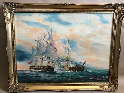 Lovely Vintage Signed Oil Painting On Board Of Sea Battle In Ornate Gold Frame