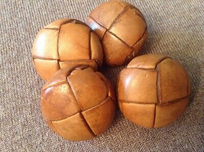 Four Large Vintage Tan Brown Leather Football Buttons Coat Cardigan 1.2""