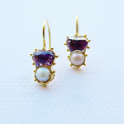 Antique Scottish Thistle Earrings Amethyst Pearl 18ct Gold C.1830's