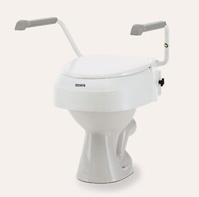 """Invacare Aquatec 900 2"""" 4"""" or 6"""" Raised Toilet Seat Arms and Lid. Slight seconds"""