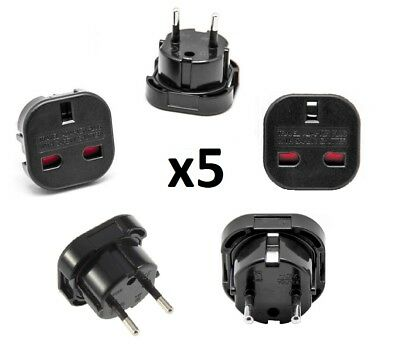 5x UK England English to EU Euro Europe European Travel Adaptor BS CE Approved