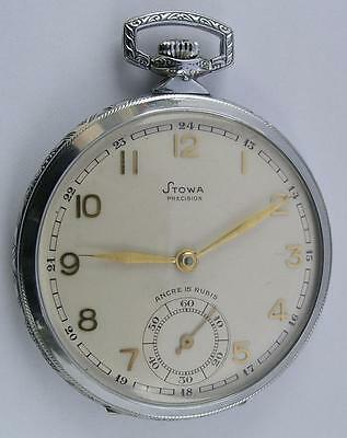 ART DECO STOWA OPEN FACE MEN'S POCKET WATCH SWISS MADE 1930's NEW OLD STOCK