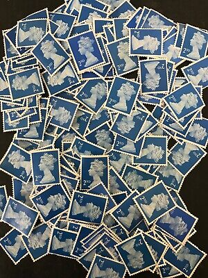 200 x 2nd Class Royal Mail Unfranked Stamps,No Gum ,Off Paper ,FV £122.00