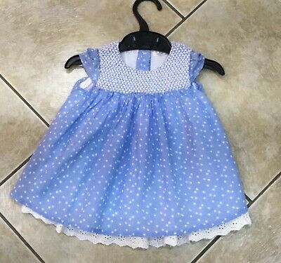 Baby Girls Blue/White Summer DRESS Age 3-6 Months