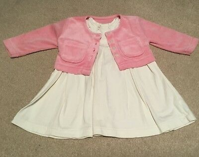 M&S Long sleeved cream dress and pink velour jacket. Age 3-6 Months. NWOT