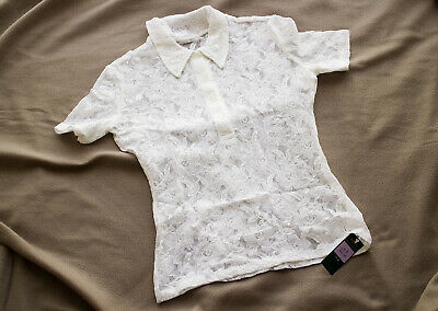 Ladies,Girls BNWT White Lace Sheer Stretchy Marks & Spencer Blouse NEW,Size 8