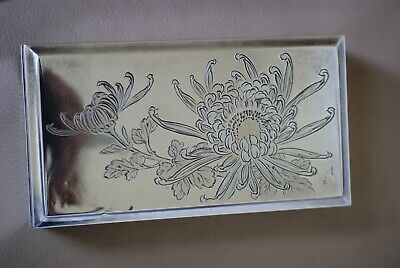 Antique Japanese Late Meiji Pure Silver and Wood Box,Signed and Marked