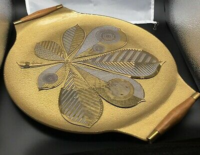 """GEORGES BRIARD Chestnut Leaf Gold Tray Wood Handles Mid Century 16.25""""X14"""" Large"""