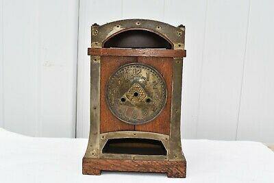 Antique Art & Crafts Oak & Brass Mantle Clock Case Made By H.a.c. In Germany