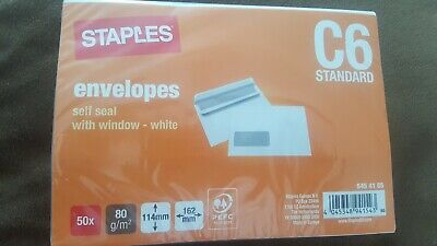 10 Packs (50/pack) White Self Seal Envelopes with Window C6 80gsm  114mm x 162mm
