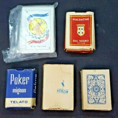 Vintage Lot (5) Decks Miniature Playing Cards Heron Dal Negro Masenghini Gacela