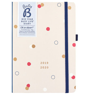 Busy B 2019-20 Mid Year Busy Life Diary - with dual schedules and pockets