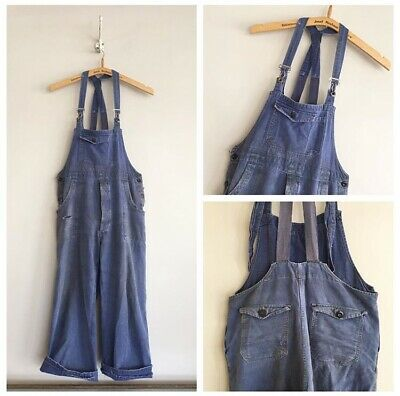 True Vintage 1940s French Blue Cotton Chore Workwear Dungarees Overalls Small