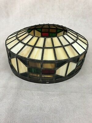VTG Tiffany Style Mission Arts Crafts Slag Stained Glass Lamp 11.5 IN DIAMETER