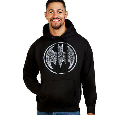 Dc Comics Official Batman 3D Effect Logo Design - Men's Pullover Hoodie - Black