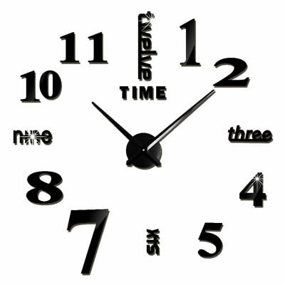 Large Hanging Wall Clock Big Roman Numerals Giant Open Face Metal Round Diy Art