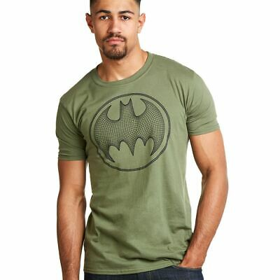 Dc Comics Official Batman 3D Effect Logo - Men's T-Shirt - Military Green