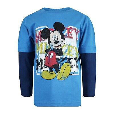 Disney Official Mickey Mouse Initial Design - Boys Long Sleeve Top Navy Blue