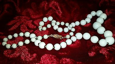 Vintage White Milk Glass Beaded Necklace with Fish Hook Clasp c1950-60's