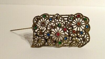 Unique Antique Victorian Sash Pin Brooch Filigree Brass Flowers Leaves Gems