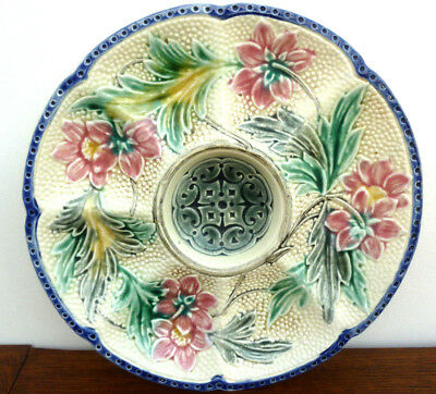 Rare antique Majolica oyster plate WASMUEL decor flowers and leaves circa1880