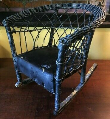 Antique Small Child Rocking Chair Rocker Primitive Doll Victorian Wicker VTG
