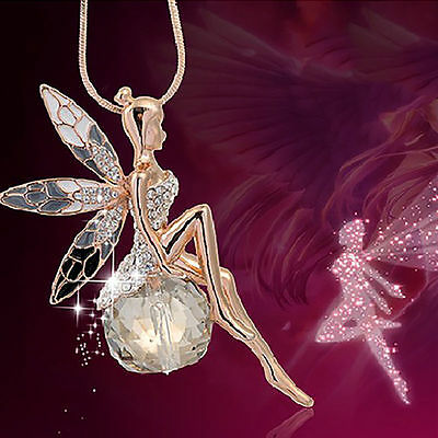 Elegant Women Crystal Gold Fairy Angel Wing Pendant Long Chain Necklace Jewelry