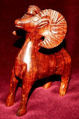 Vintage Hand Carved Polished Solid Rosewood Ram (Big Horn Sheep)-Stunning Color!