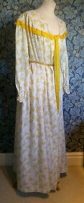 Vintage 1950s Floral House Coat yellow Long Frilled Cotton Dressing Gown