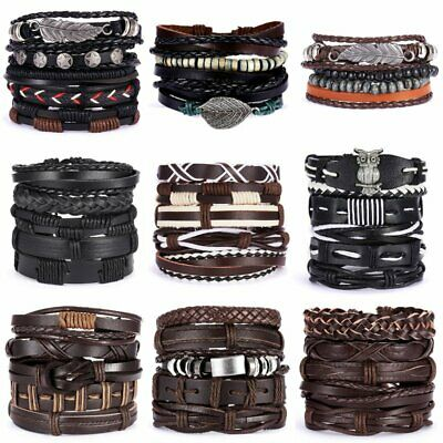Father's Day Bracelets Set Leather Wrap Braided Men Punk Wristband Cuff Bangle