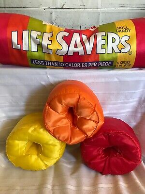 """VTG Life Savers Roll Candy Huge 36"""" Plush Pillow w/ 5 Candy Shaped Pillows RARE!"""
