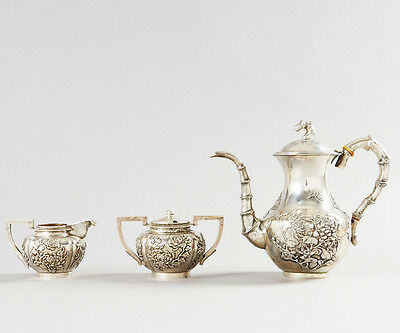 1360 Gr Antique Chinese Export Silver Tea Pot Teapot Or Coffee Set By Wang Hing