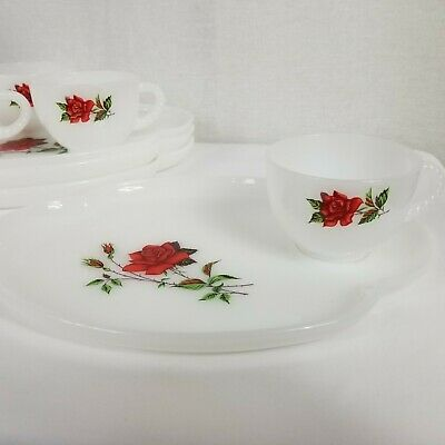 8 Pc Federal Rosecrest Milk Glass Snack Set Plate & Coffee Tea Cup Red Rose