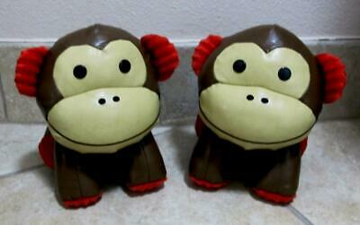 Pair Skip-Hop ZOO Monkey Bookends / Doorstop Nursery Decor ~ Excellent Pre-owned