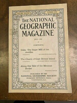 National Geographic, July 1920. Fine. Cuba.