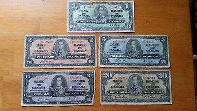 Bank of Canada 1937 Notes--- $1-$20 Gordon/Towers- set of 5