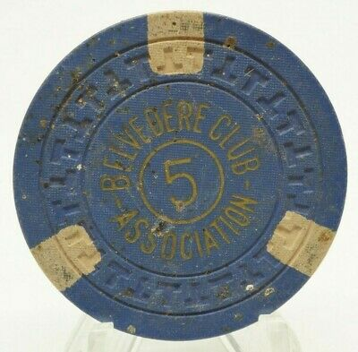 Belvedere Club Association 5 Poker Chip Blue White Illegal Casino Hot Springs AR