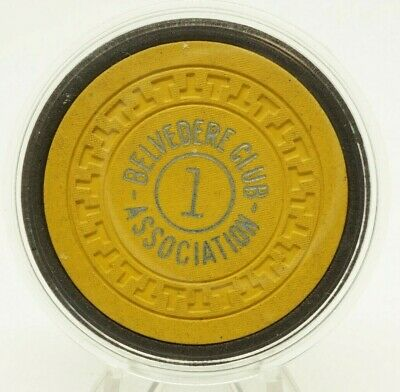 Belvedere Club Association $1 Poker Chip Pristine Hot Springs AR Illegal Casino