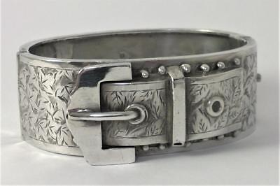 Antique Victorian hallmarked Sterling Silver Hinged Buckle Cuff Bangle  – 1886