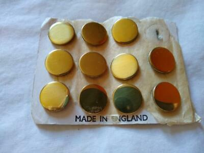 "11 vintage Small Brass Blazer Buttons 0.5"" Made in England orig card"