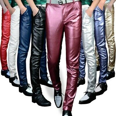 Punk Men/'s Real Leather Motorcycle Black Trousers Slim Fitted Rock Pants LHM15