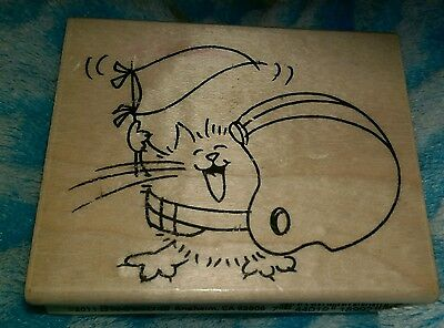 Rubber Stamp Stampendous HTF Fluffles Football Cat WM NEW V233